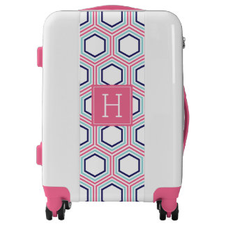 Pink and Blue Geometric Pattern and Monogram Luggage