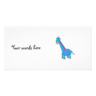 Pink and blue giraffe customised photo card