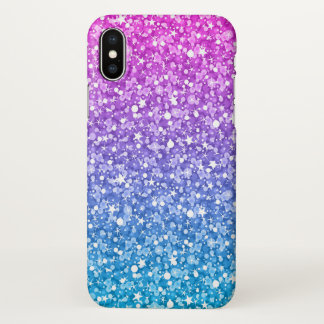 Pink And Blue Glitter iPhone X Case