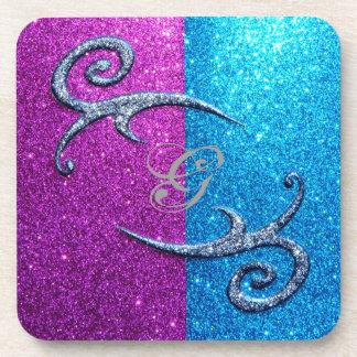 Pink and Blue Glitter Swirls Coaster