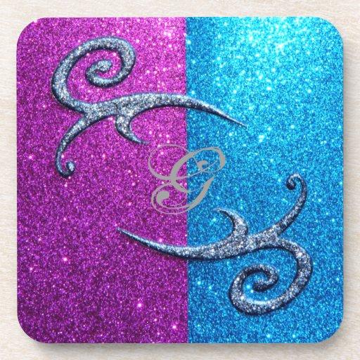 Pink and Blue Glitter & Swirls Coaster