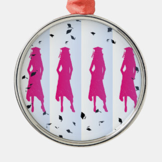 Pink and Blue Grad Silhouettes Silver-Colored Round Decoration