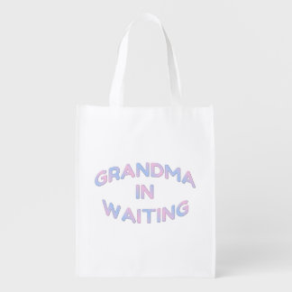 Pink and Blue Grandma In Waiting Reusable Bag