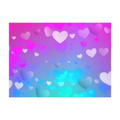 Pink and Blue Hearts Canvas Print | Zazzle: www.zazzle.co.uk/pink_and_blue_hearts_canvas_print-192034393637302309