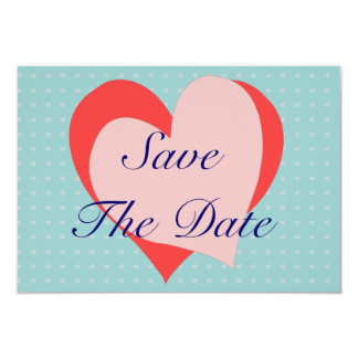 Pink and blue Hearts telegram Save the Date Card