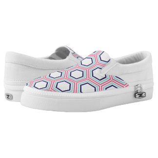 Pink and Blue Honeycomb Pattern Printed Shoes