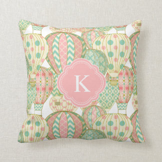 Pink and Blue Hot Air Balloons with Monogram Cushion