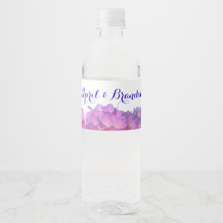 Pink and Blue Hydrangeas Water Bottle Label