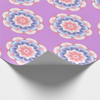 Pink and Blue Kaleidoscope Floral Pattern Wrapping Paper