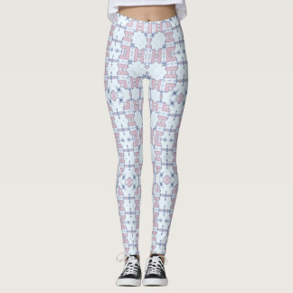Pink and Blue Lacy Square Kaleidoscope Pattern Leggings