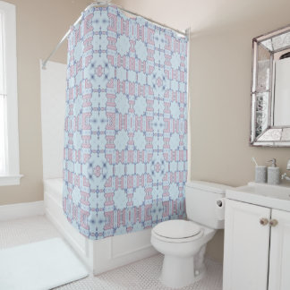 Pink and Blue Lacy Square Kaleidoscope Pattern Shower Curtain