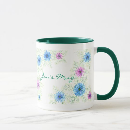 Pink and Blue 'Love-in-a-mist' Watercolor Flowers Mug