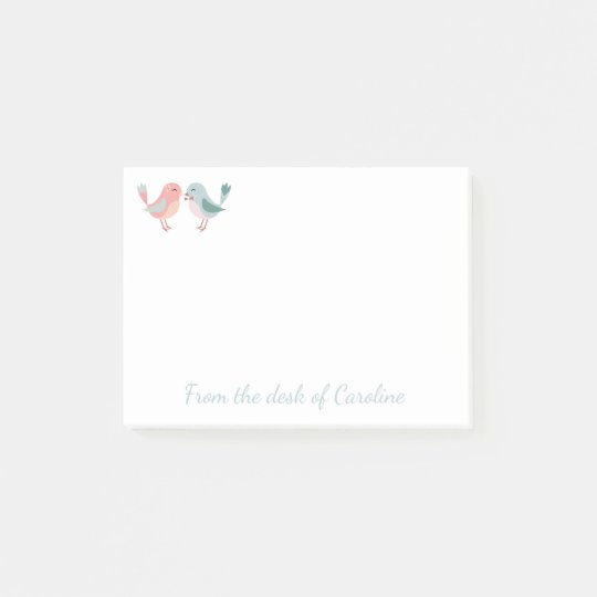 Pink And Blue Lovebirds Love, Wedding Post-it Notes