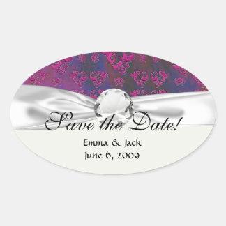 pink and blue marble swirls damask oval sticker