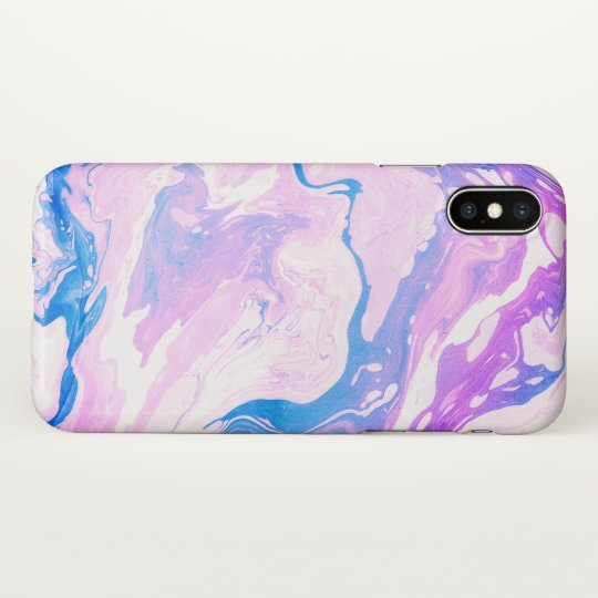 Pink and blue marbled girly design iPhone x