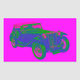 Pink and Blue Mg Tc Antique Car Pop Art Stickers