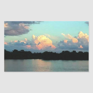 Pink and Blue Mississippi River Sunset Rectangular Sticker
