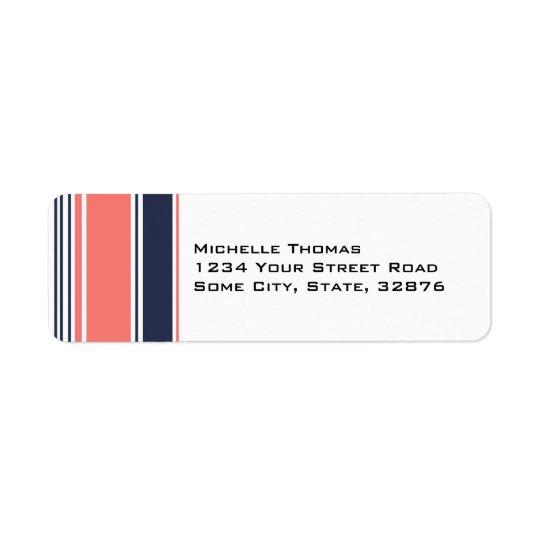 Pink and Blue Modern Stripes Return Address Label