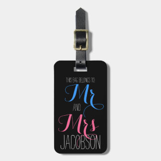 Pink and Blue Mr and Mrs Tag For Bags