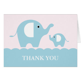 Pink and Blue Mum and Baby Elephants Note Card