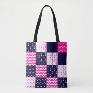 Pink and Blue Nautical tote bag
