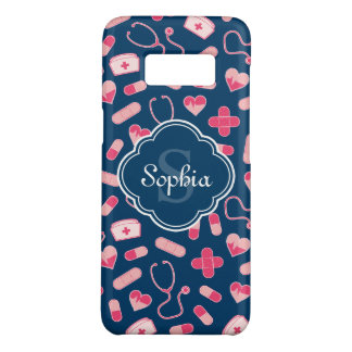 Pink and Blue Nurse Pattern with Monogram Case-Mate Samsung Galaxy S8 Case