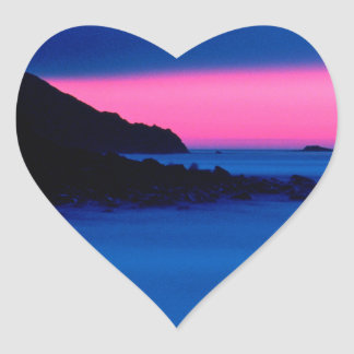 Pink and Blue Ocean Sunset Heart Stickers