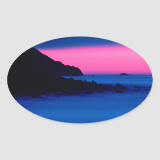 Pink and Blue Ocean Sunset Oval Stickers