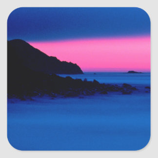 Pink and Blue Ocean Sunset Square Stickers