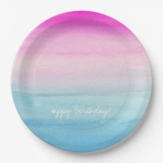 Pink and Blue Ombre Watercolor 9 Inch Paper Plate