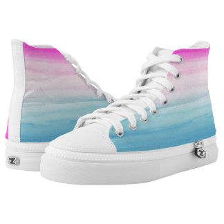Pink and Blue Ombre Watercolor High Tops