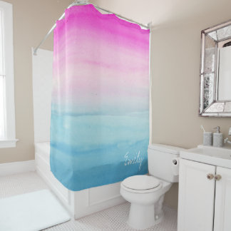 Pink and Blue Ombre Watercolor Personalized Shower Curtain