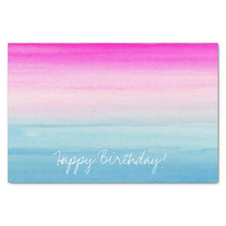 Pink and Blue Ombre Watercolor Tissue Paper