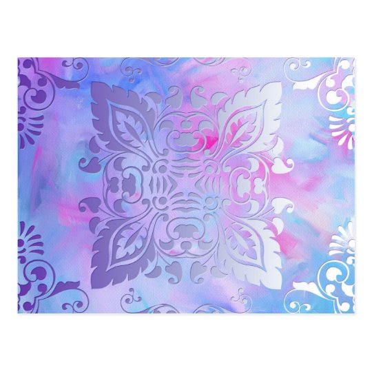 Pink and Blue Ornate Design Postcard