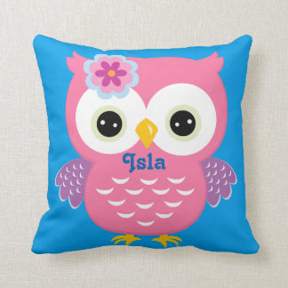 Pink and Blue Owl Baby Keepsake Cushion