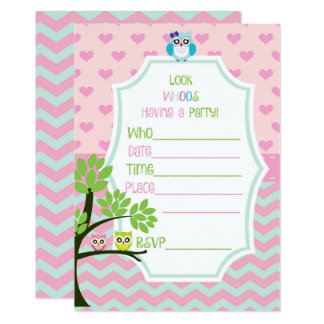 Pink and Blue Owl Chevron Birthday Party Invite