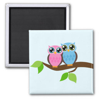 Pink and Blue Owl Couple Square Magnet