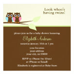 Pink and Blue Owls Baby Shower Announcement