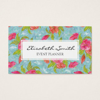 Pink and Blue Painted Flower, Floral Pattern Business Card