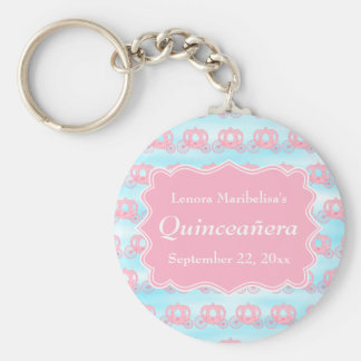 Pink and Blue Pastel Carriages Quinceanera Key Chain