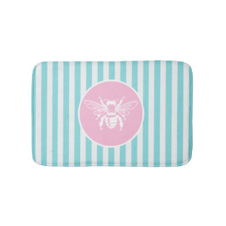 Pink and Blue Pastel Stripe White Bee Bath Mat