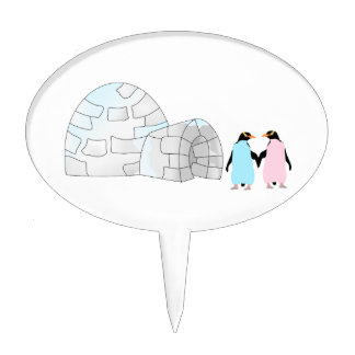 Pink and Blue penguins at igloo Cake Pick