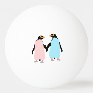 Pink and blue Penguins holding hands