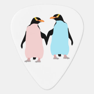 Pink and blue Penguins holding hands Plectrum