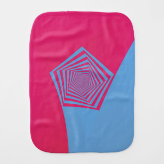 Pink and Blue Pentagon Spiral Burp Cloth