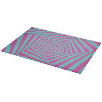 Pink and Blue Pentagon Spiral Cutting Board