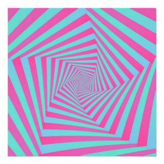 Pink and Blue Pentagon Spiral Photo Print