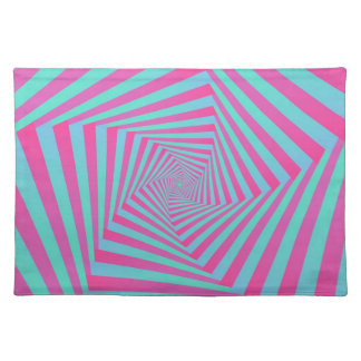 Pink and Blue Pentagon Spiral  Placemats