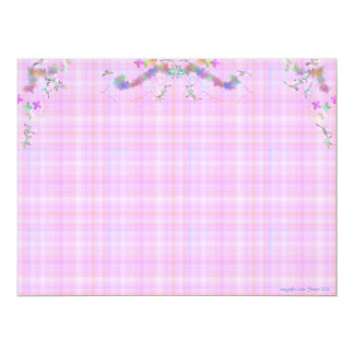 Pink and blue plaid Baby card 17 Cm X 22 Cm Invitation Card