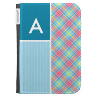 Pink and Blue Plaid Kindle Case